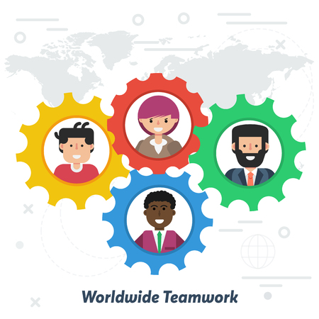 Vector worldwide teamwork or social network concept in flat style. Team of various men and women in gear wheel working together successfully