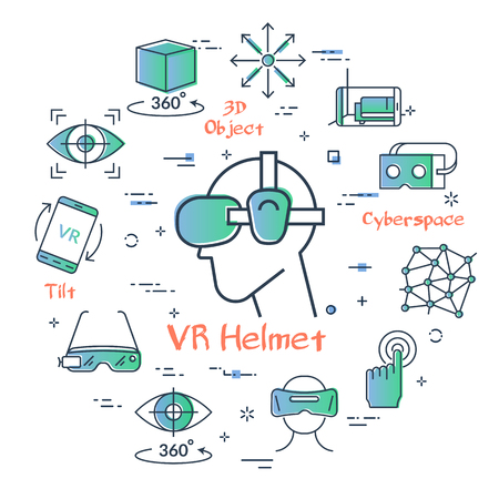 Vector concept of virtual reality diving. Linear icon of VR helmet in center and equipment for internet game entertainment icons. Innovations technology in outline colored style. Illusztráció