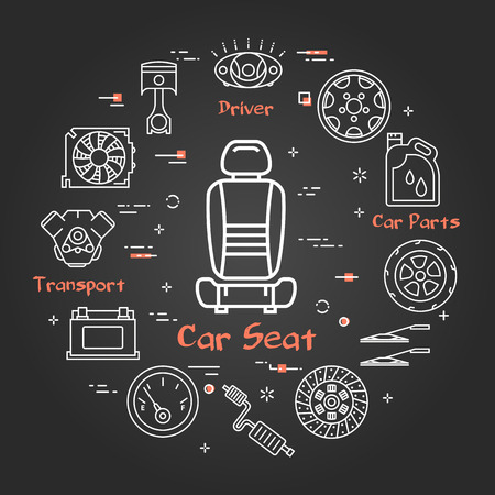 Vector linear round modern concept of auto part. White outline car seat icon in center and black chalk board background. The different car parts and components are arranged in a circle of banner