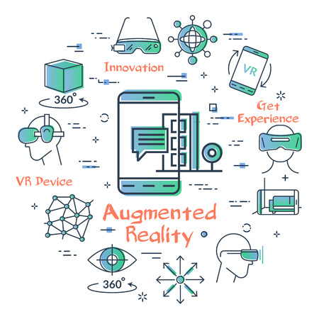 Vector concept of virtual reality technology. Linear icon of AR - augmented reality in center. Innovations in location in the city, getting information about objects in outline colored style 写真素材 - 124900004