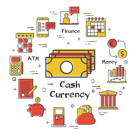 Vector linear concept of finance, banking and accounting. Color icon of cash currency - paper money. Budget and payment transactions icons Illustration