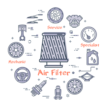 Vector linear round modern concept of auto part with outline air filter icon in center on white background. Various components and parts of car vehicle at this web banner