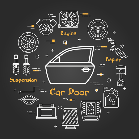 Vector linear round modern concept of auto part. White outline car door icon in center and black chalk board background. The different car parts and components are arranged in a circle of banner