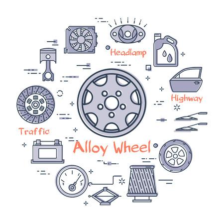 Concept moderne rond linéaire de vecteur de pièce d'auto avec l'icône de roue d'alliage de contour au centre sur le fond blanc. Divers composants et pièces de véhicule automobile sur cette bannière Web
