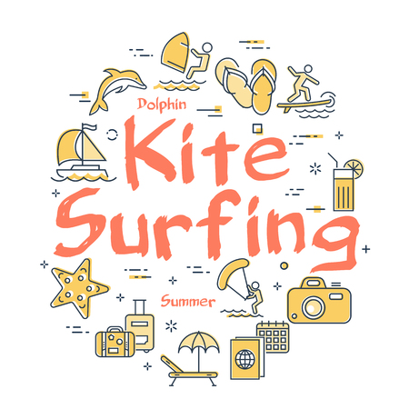 Vector round set of linear icons of yellow color showing concept of summer activities and traveling isolated on white background. Banner with text - Kite Surfing Vector Illustration