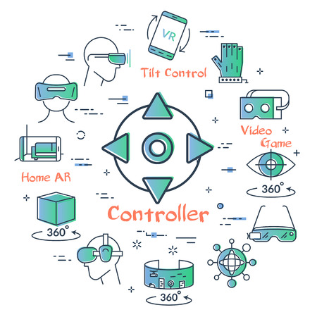 Vector concept of virtual reality diving. Linear icon of VR button controllers in center. Innovations technology in outline colored style. Mask for VR and other entertainment icons Vector Illustratie