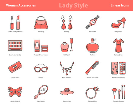 Vector set of 20 linear outline icons of woman accessories - lady style items. Pictographs of cosmetics, jewelry, hygiene items, clothing, shoes and other womens necessities with coral red color