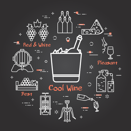 Vector linear round web banner of viticulture, winemaking and storage. Outline white icons are arranged on black chalk board. Cool Wine text in center and illustration of bottle in the ice container