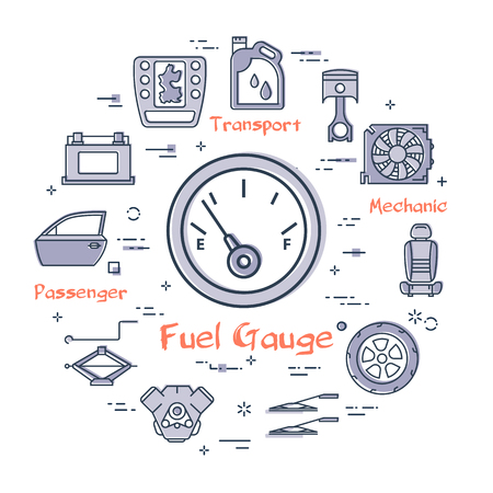 Vector linear round modern concept of auto part with outline fuel gauge icon in center on white background. Various components and parts of car vehicle at this web banner