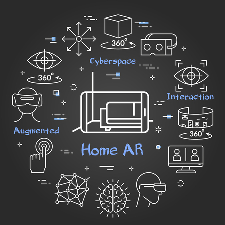 Vector linear concept of virtual reality technology. White outline human brain icon in center and black chalk board background. The different VR devices and equipment icons as helmet and computer Ilustrace