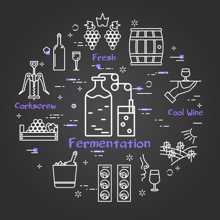 Vector linear banner of winemaking and production. Outline white icons on black chalk board. Fermentation text in center and illustration this process with two transparent containers and air bubbles