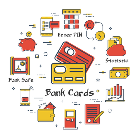 Vector linear concept of finance, banking and accounting. Color icon of two credit cards. Money, budget and payment transactions icons