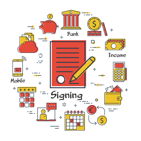 Vector linear concept of finance, banking and accounting. Color icon of signing a contract for a loan. Money, budget and payment transactions icons Ilustrace