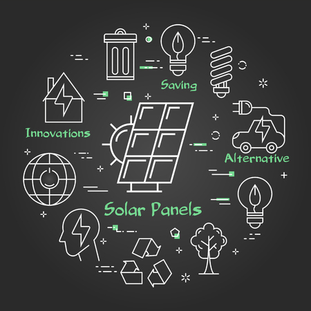 Vector linear illustration of solar panel as alternative energy source. Several outline eco icons around. Web banner for ecology, innovations types of energy on black chalk board background