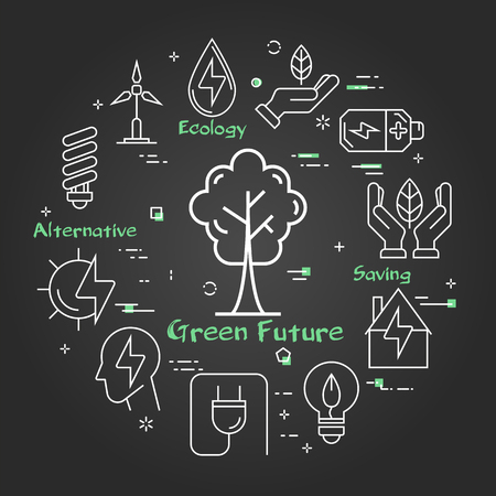 Vector linear illustration of tree in city as alternative energy source. Several outline eco icons around. Web concept of green safe future - ecology, innovations types of energy on black chalk board