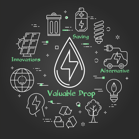 Vector linear illustration of energy of water as alternative energy source. Several outline eco icons around. Web banner for ecology, innovations types of energy on black chalk board background