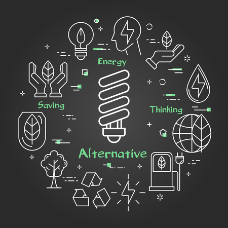 Vector linear illustration of alternative lamp bulb. Several outline eco icons around. Web banner for ecology, innovations types of energy on black chalk board background Ilustrace