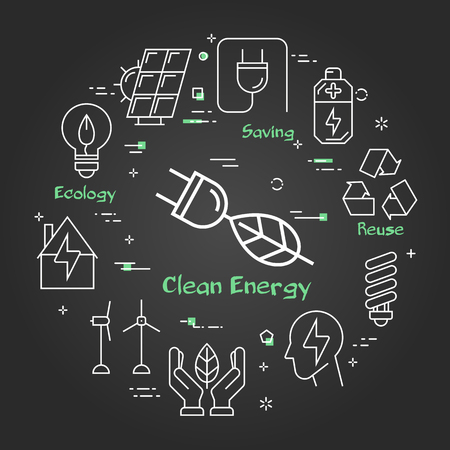 Vector linear illustration of clean energy - plug with tree leaf - as alternative energy source. Web banner for ecology, innovations types of energy on black chalk board background