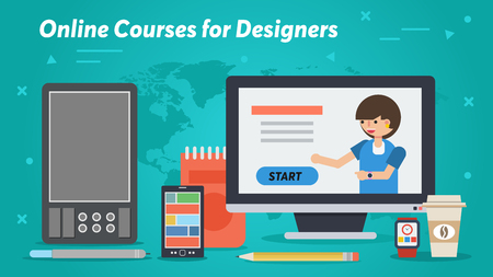 Vector horizontal banner - Online Courses for Designers in flat styly. Powerful digital equipment, tablet for hand drawing and pen, liners on colored background. Remote education via the Internet Ilustrace