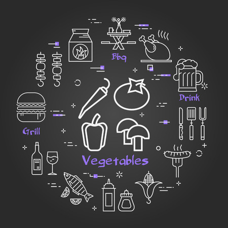 Vector linear round concept of outdoor barbecue and grill. White outline picnic vegetables icon on black chalk board. Mushrooms, pepper, hot pepper and tomato and camping equipment on banner