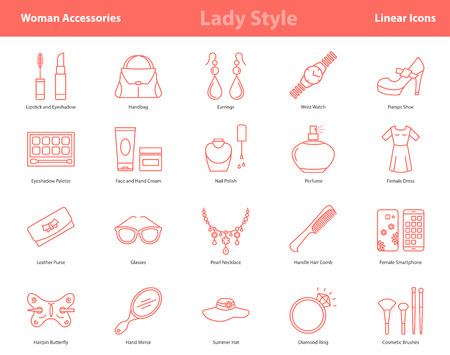 Vector set of 20 linear outline icons of woman accessories - lady style items. Pictographs of cosmetics, jewelry, hygiene items, clothing, shoes and other womens necessities