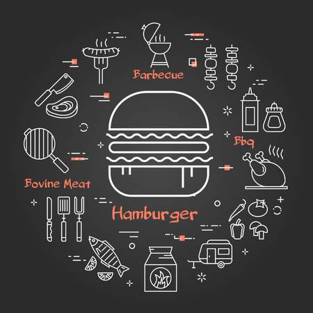 Vector linear round concept of outdoor barbecue and street food. White outline hamburger icon on black chalk board. The different food and camping equipment are arranged in a circle of banner Ilustrace