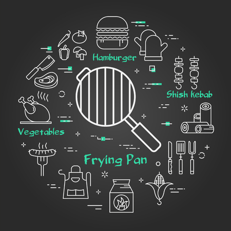Vector linear concept of outdoor barbecue and grill. White outline frying pan icon on black chalk board. The different food and camping equipment illustrations are arranged in a circle of banner Ilustrace