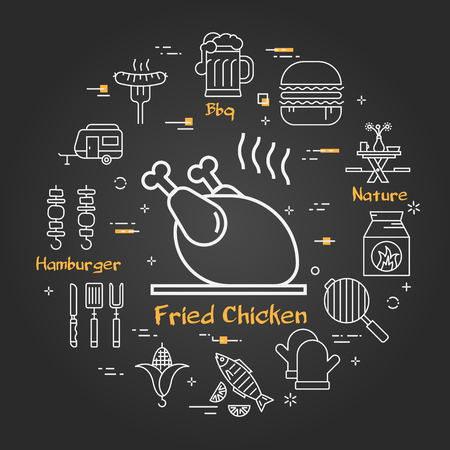 Vector linear round concept of outdoor barbecue and grill. White outline fried chicken icon on black chalk board. Different food and camping equipment illustrations are arranged in a circle of banner