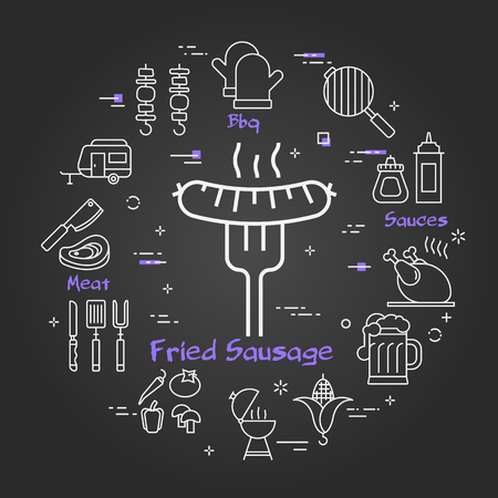 Vector linear round concept of outdoor barbecue and grill. White outline fried sausage icon on black chalk board. Different food and camping equipment illustrations are arranged in a circle of banner