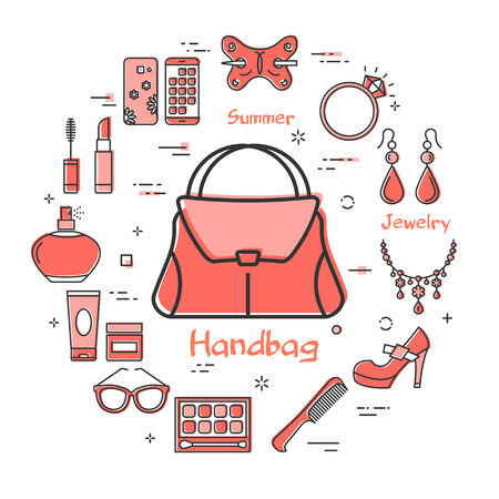 Vector linear red round concept of woman handbag. Cosmetic, jewelry, hygiene items, clothing, shoes and other womens accessories shown by outline icons arranged on white modern web banner Vektoros illusztráció