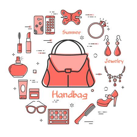 Vector lineares rotes rundes Konzept der Frauenhandtasche. Kosmetik, Schmuck, Hygieneartikel, Kleidung, Schuhe und andere Damenaccessoires, die durch Umrisssymbole auf weißem, modernem Webbanner angezeigt werden Vektorgrafik