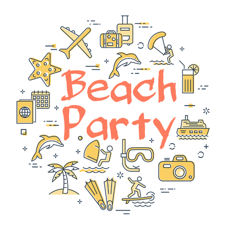 Vector round set of linear icons of yellow color showing concept of summer activities and traveling isolated on white background. Banner with text - Beach Party Illustration