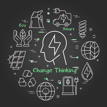 Vector linear illustration of electricity sign in human head as change thinking concept. Several outline eco icons around. Web banner for ecology, innovations types of energy on black chalk board