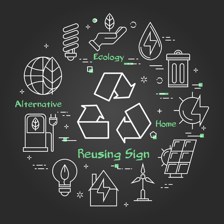 Vector linear illustration of reusing ecology sign. Concept of preserving the environment and saving production waste. Web banner for alternative energy source on black chalk board background Illusztráció