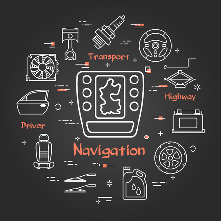Vector linear round modern concept of auto part. White outline car navigation icon in center and black chalk board background. The different car parts and components are arranged in a circle of banner