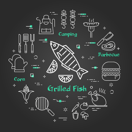 Vector linear round concept of outdoor barbecue and grill. White outline grilled fish icon on black chalk board with piece of lemon. Food and camping equipment illustrations are arranged in a circle