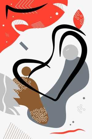 Vector vertical color abstract illustration of two people for web and print. Concept of motherhood and care. Muted colors in contrast with bright red, simple shapes, black lines on white background Ilustração