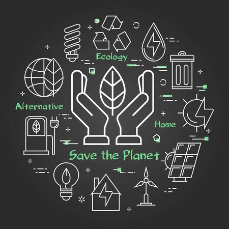 Vector black linear banner of concept save the planet
