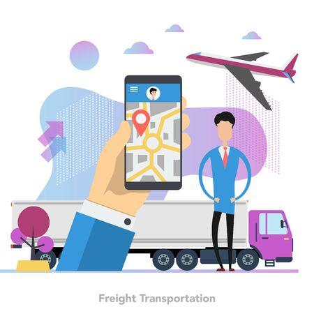 Square concept of monitoring freight transport in flat Ilustração