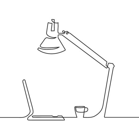 Vector black continuous one line of table office lamp Ilustração