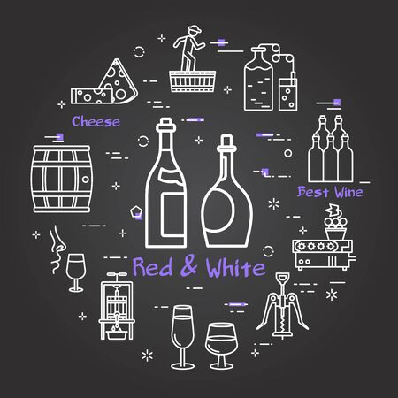 Black banner winemaking - concept red and white wine
