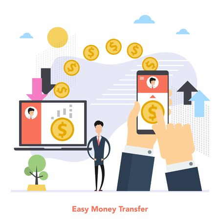 Square concept of worldwide money transfer in flat