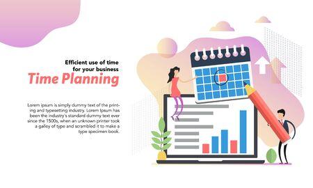 Web header template of time planning in flat Ilustração
