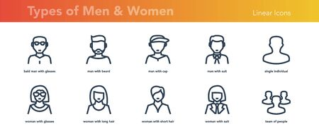 Ten Linear Avatars of Men and Women Faces Stock Illustratie