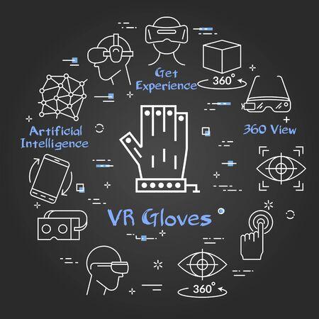 Vector black virtual reality concept - VR Gloves Ilustração