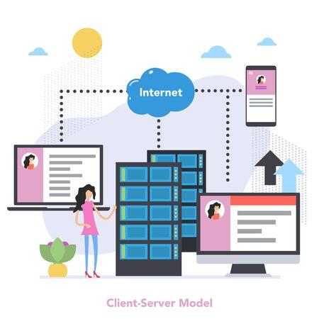 Square Client Server Model Concept with Gradient