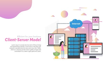 Vector web header template of client server model in flat. Woman user near server and various devices of data storage with easy access to them. Illustration on white with gradient elements Ilustração
