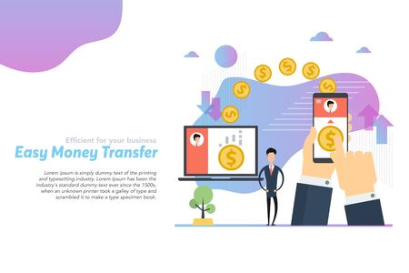 Web header template of easy money transfer in flat