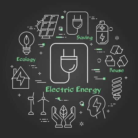 Vector linear illustration of Vector black linear banner of electric plug as alternative energy or saving. Several outline eco icons around. Web banner for ecology, innovations types of energy Ilustracja