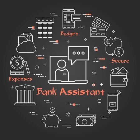Vector black finance and banking concept - bank assistant